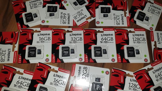 Card memorie microSD + adaptor originale Kingston 16 32 64 128 GB