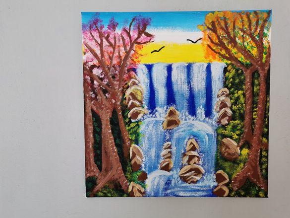 Красива авторска картина - акрил, канава, пейзаж водопад 40 х 40 см