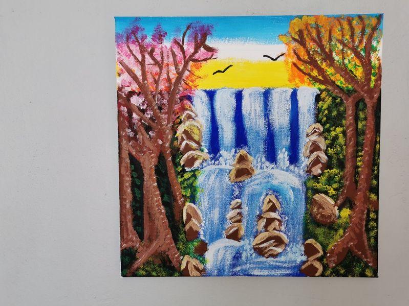 Красива авторска картина - акрил, канава, пейзаж водопад 40 х 40 см гр. Пловдив - image 1