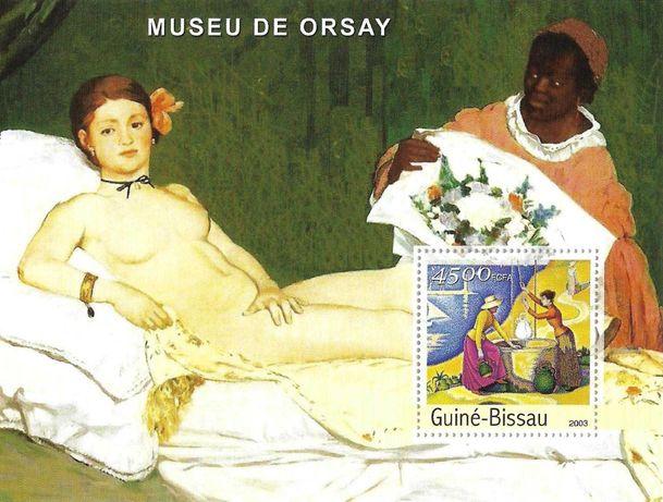 Super timbre colita nestampilata arta pictura Olympia de Edouard Manet