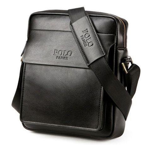POLO Fanke Fashion Мъжка чанта Черна/Бордо магнитно закопчаване