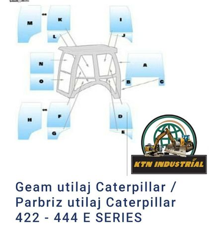 Geam/ Parbriz Caterpillar CAT 428 E,C,D, 432, 434, 442, 444