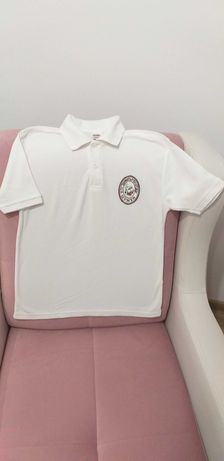Бели тениски с къс и дълъг ръкав р-р 140 с емблемата на 3ОУ Д. Благоев