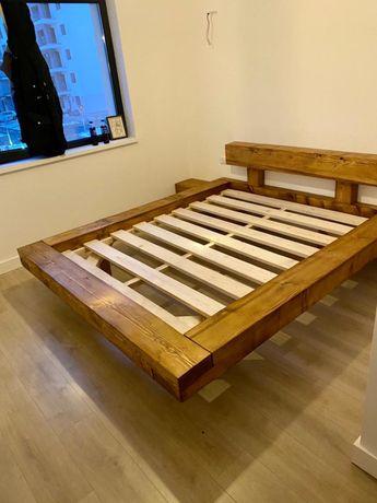 Pat din lemn / Pat din grinzi de lemn / pat din lemn masiv