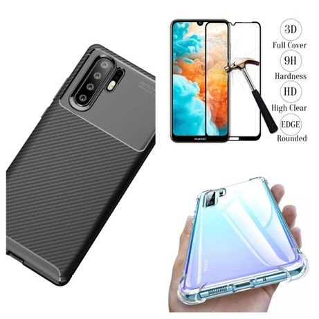 Huawei P30 Lite Pro Husa Silicon Carbon si Folie Sticla Curbat