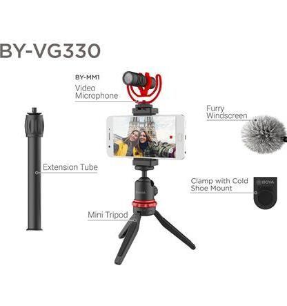 BOYA BY-VG330 Vlogger Kit cu microfon BY-MM1, Mini trepied, cold shoe,