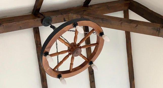 Candelabru , lustra , lampadar , corp iluminat rustic din lemn