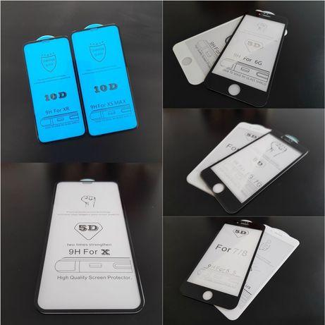 FOLIE STICLA 10D full cover iPhone 6, 7, 8, plus, X, Xr, X Max, 11 Pro