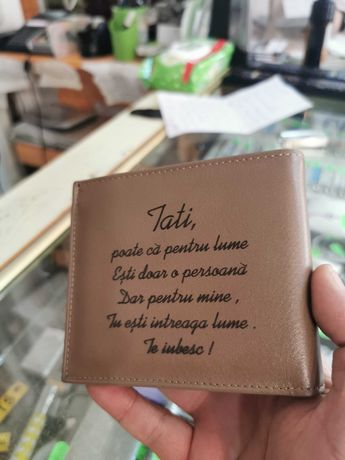 portofel piele personalizat cu text