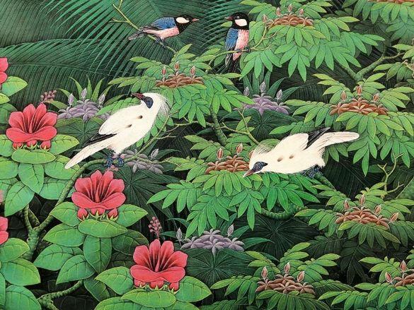 Картина Ръчно рисувана от остров- Бали Екзотични Птици