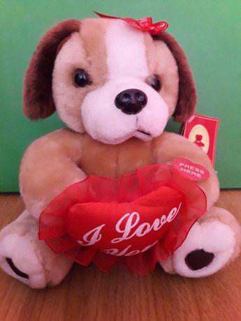 Ursulet de plus, maro, cu inimioara rosie I Love You