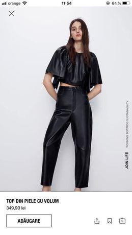 Zara, top din 100% piele cu volum, marime S, S, nou cu eticheta