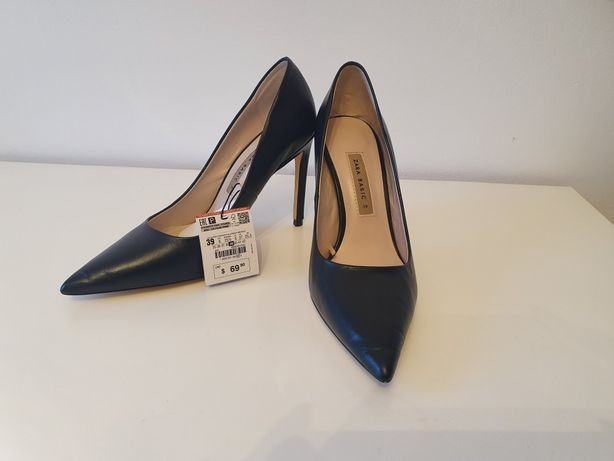 Pantofi Zara, noi, piele naturala, 39