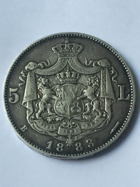 Moneda argint 5 Lei 1883 Carol I