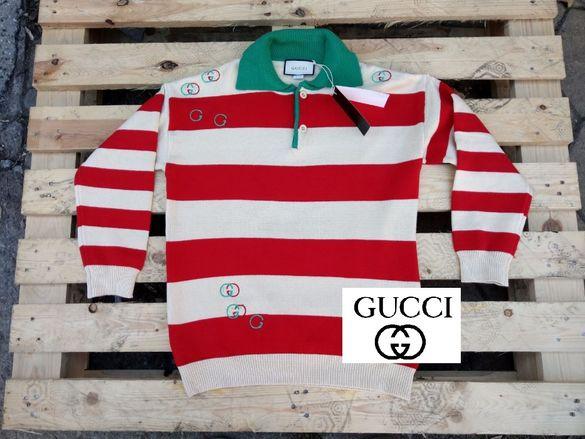 GUCCI LOGO STRIPED POLO мъжки пуловер-блуза размер L