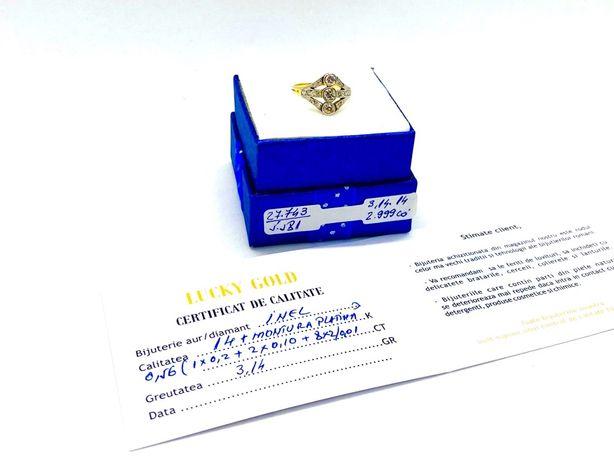 Inel Aur cu Diamant 3,14gr produs cu certificat de conformitate