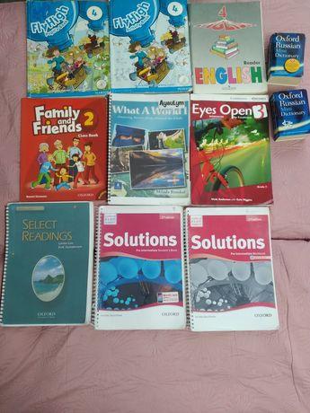 Книги на английском, русском, казахском.