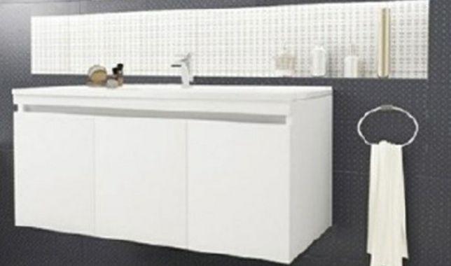 Mobilier de baie cu lavoar 3 usi soft close alb lucios L101/46 53cm