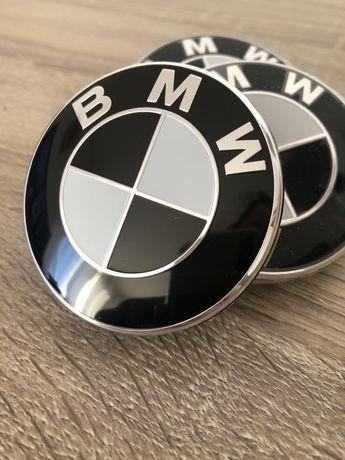 Капачки за джанти БМВ-BMW 68 mm в черно-бял цвят