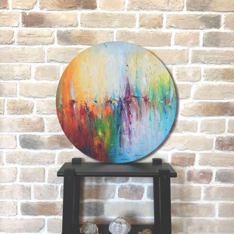 Круглая картина 90 см холст масло абстрактная современная живопись
