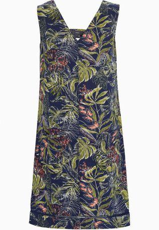 Къса, разкроена рокля с лен NEXT. Тъмносиня с десен на листа