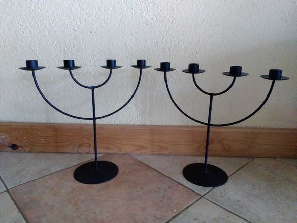 два български традиционни железни свещника, по 4 свещи