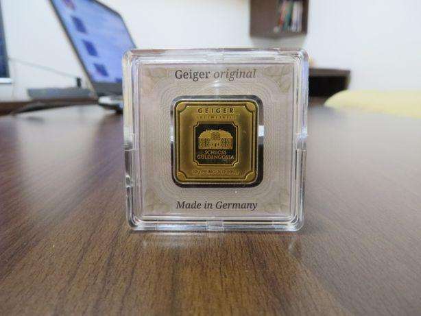 Moneda lingou aur 24K + certificat, Geiger Germania 10 grame