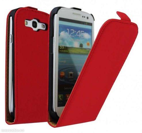Husa Eleganta TOC PIELE FLIP ROSU RED Samsung Galaxy S3 i9300 + Folie