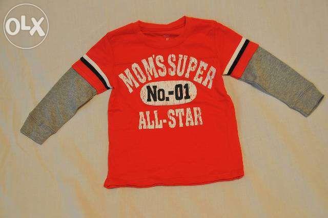 Tricou rosu cu maneca lunga pentru baieti 12 luni