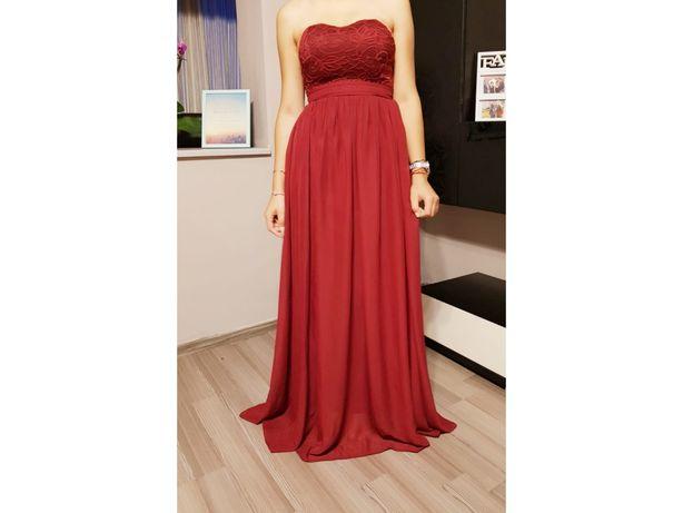 rochie lunga de voal si dantelă