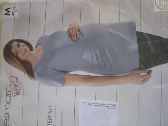 Светлосиня блуза за бременни размер М 40-42