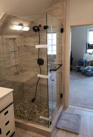Стеклянные душевые перегородки, шторки для ванн, офисные перегородки!!