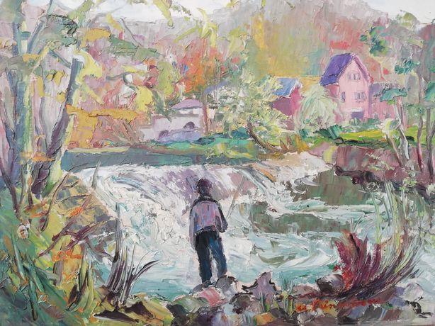 """"""" La pescuit """", peisaj Belgia, tablou, Maria Frânculescu, 1978, u/c"""