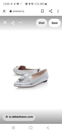 Pantofi/loaferi/office argintii