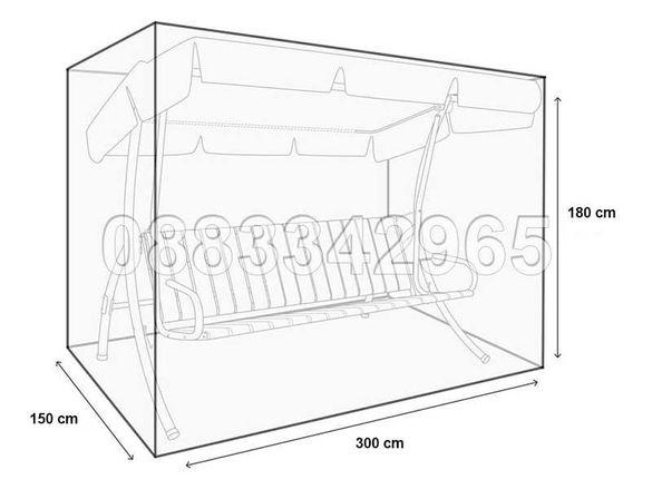 НОВО! Покривало за градинска люлка размер XXL 3 метра - 300х180х150cm