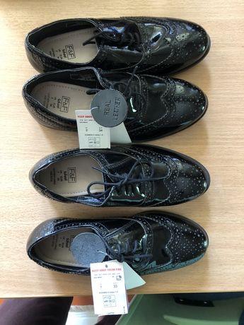 Кожаные туфли для девочек размер 33 и 34