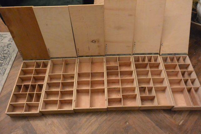 6 cutii de depozitare/transport/display din Placaj-compartimentate