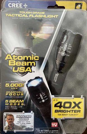 тактический Zoom фонарь Atomic Beam аккумулятор в комплекте