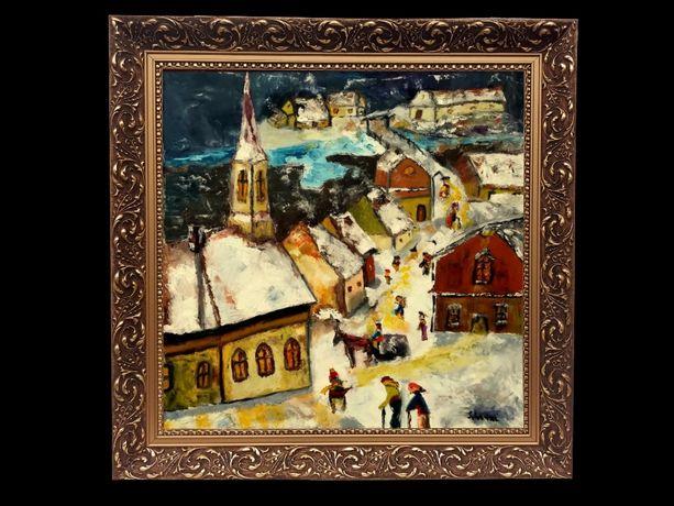 """Iarna in Transilvania"" Pictura rara, de colectie"