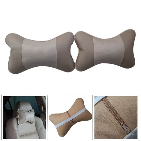 Комплект кожени възглавнички за МПС - бежов цвят гр. Стара Загора - image 1