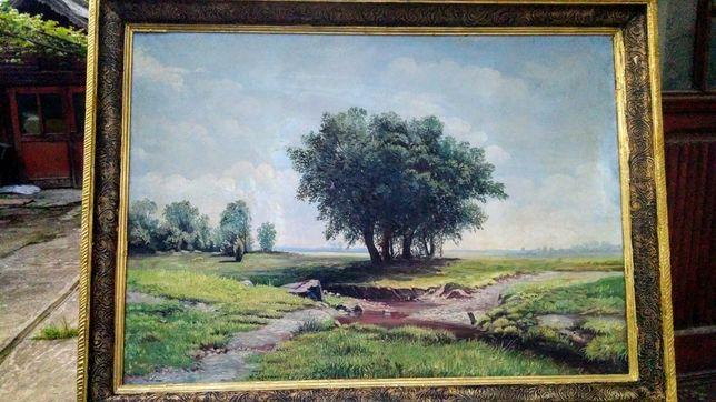 """ Vara "", tablou splendid, Flesaru, u/p, rama originală stejar"