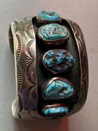 Bratara Argint Navajo cu turquaze naturale