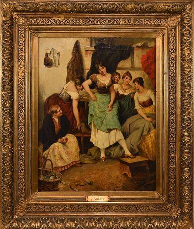 Tablou vechi cca 1840, pictura ulei pe panza, semnat, Franta