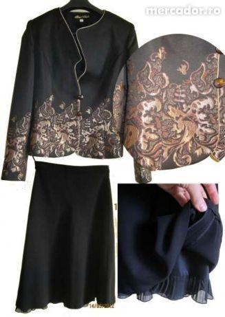 compleu 3 piese Costum dama de ocazie sacou fusta bluza marime 38 40