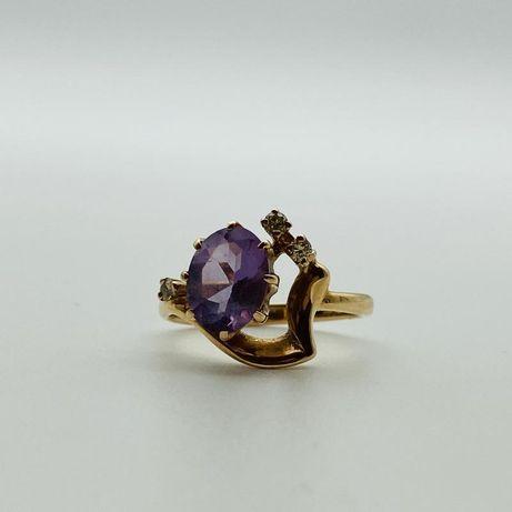 Кольцо с камнями и бриллиантами, золото 585 (14K), вес 3.45 г. №10677