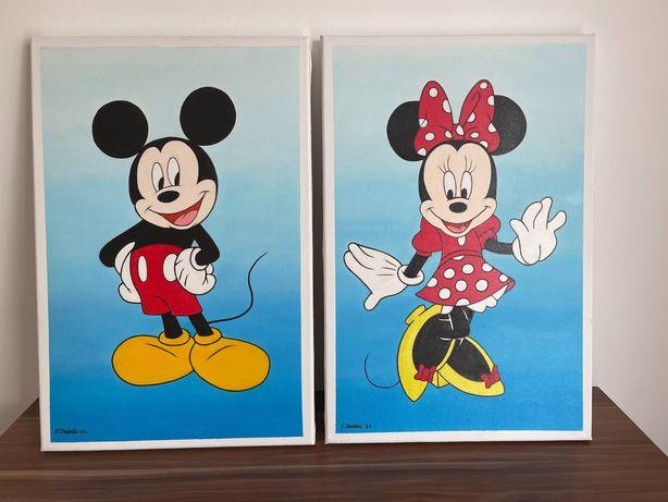 Tablouri ulei pe pânză Mickey & Miney 40x60 creație proprie