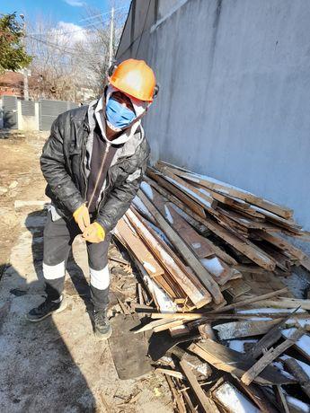 Tăiere copaci defrisari montaj gard din sârmă zincata