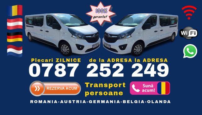 Plecari ZILNICE transport persoane Romania Austria Germania adresa GJ