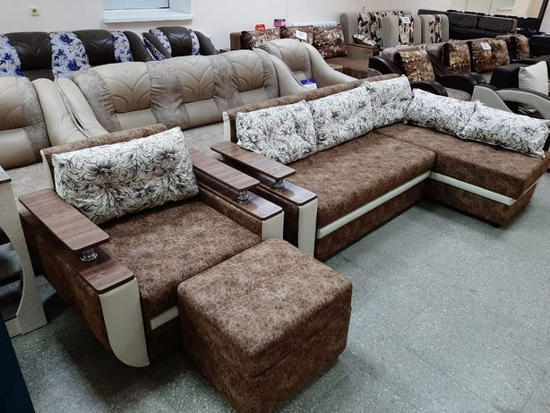 Угловой диван +кресло +Пуфик Подарок