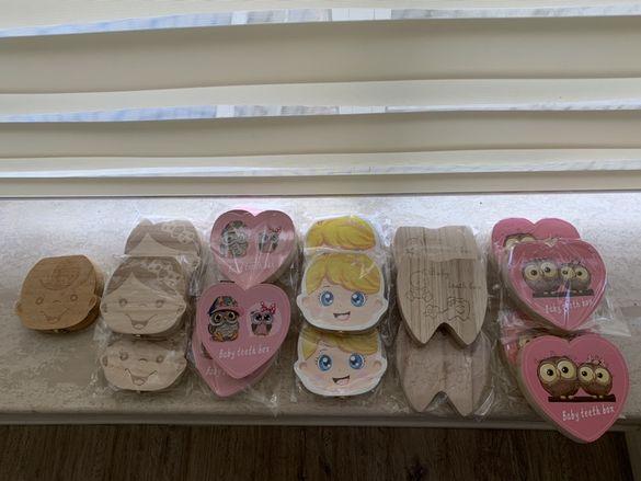 Дървена кутия за съхранение на детски зъбки